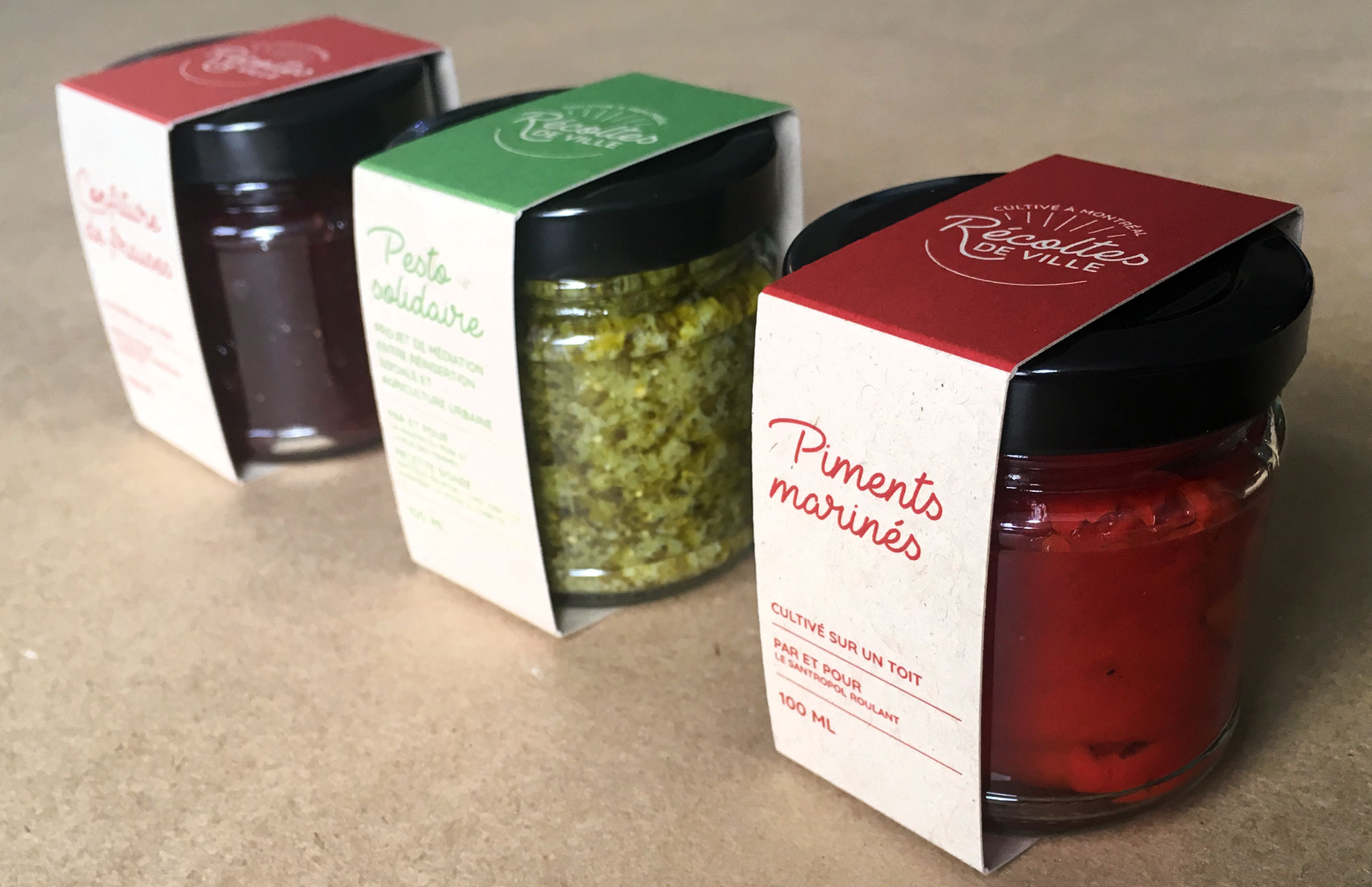 Identité visuelle et 3 étiquettes-emballages pour Récoltes de ville.