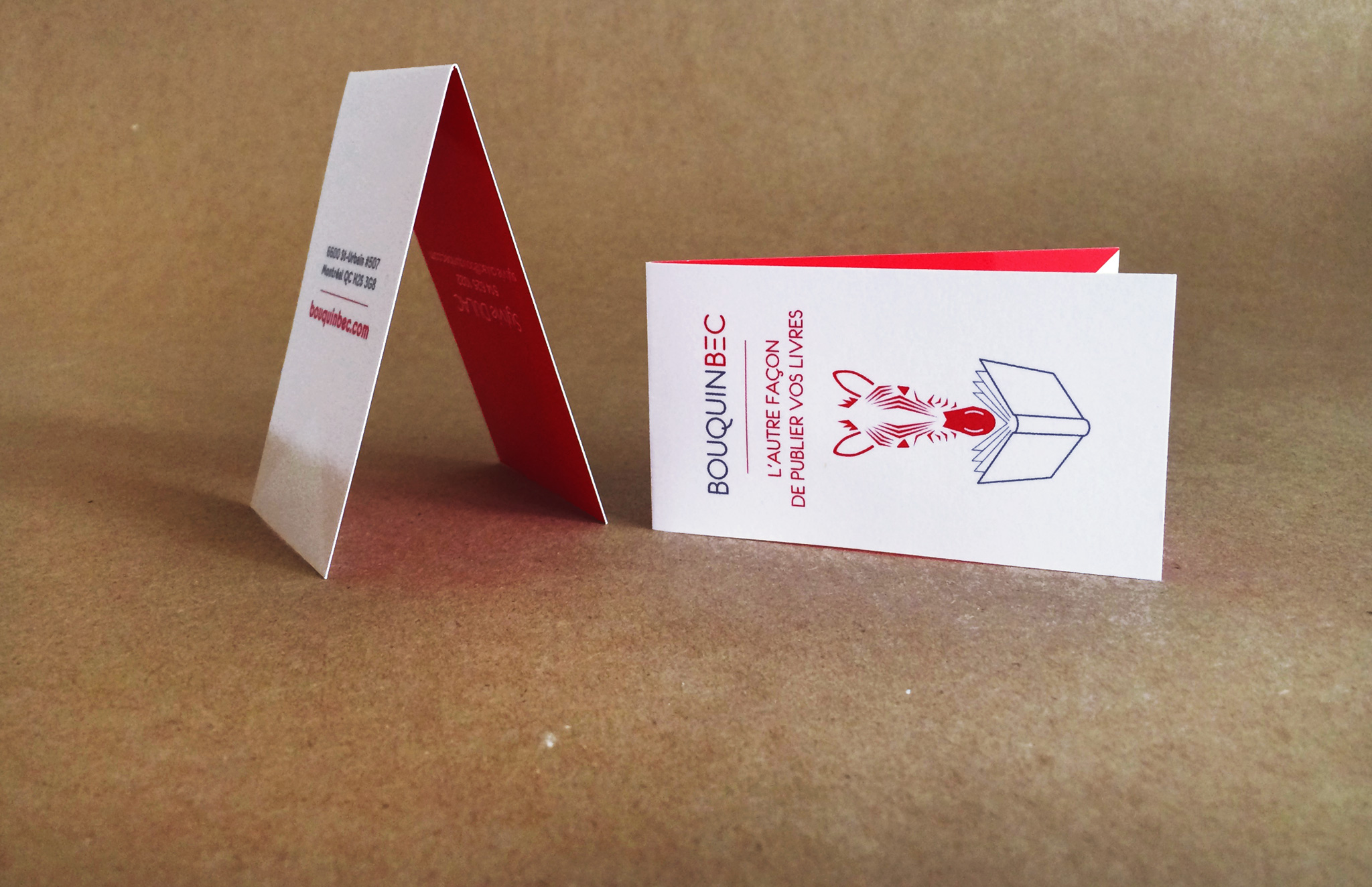 Identité visuelle pour Bouquinbec offrant un service d'accompagnement à la publication, l'auto-édition.