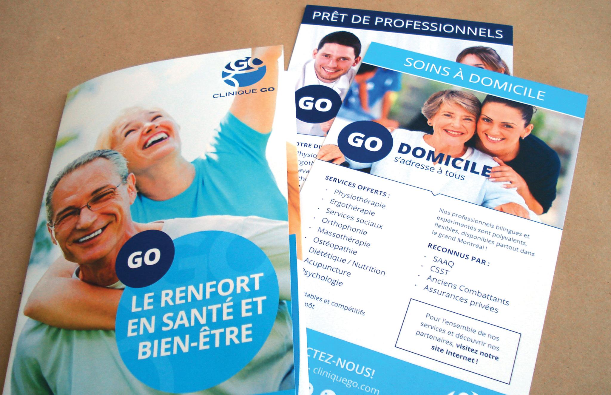Dépliant-pochette et cartons services de Clinique Go.