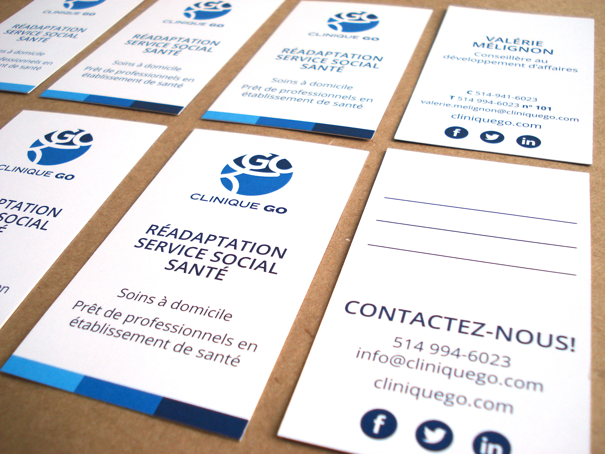 Cartes d'affaires de Clinique Go.