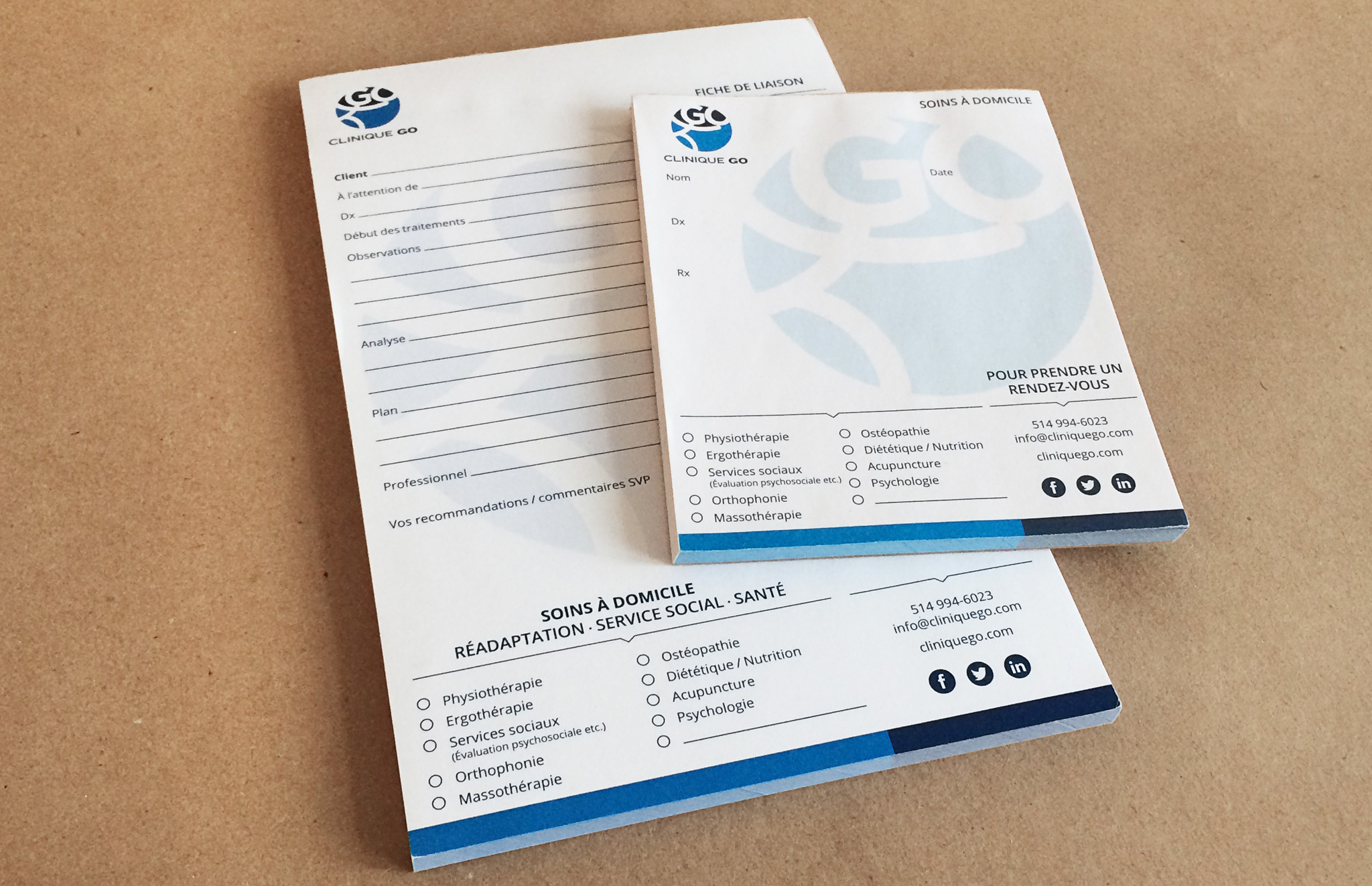 Bloc-notes et de prescription de Clinique GO.