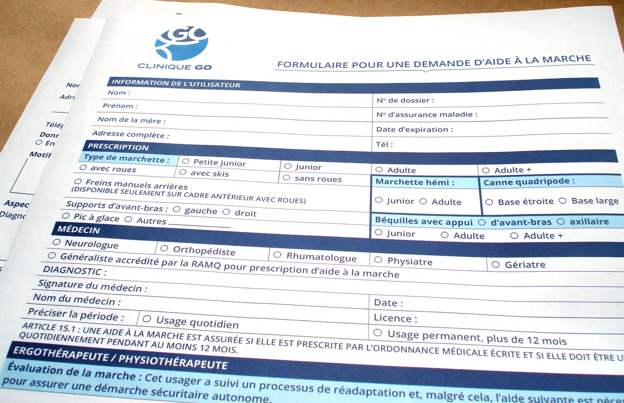 Série de formulaires interactifs de suivi médicale de Clinique GO.