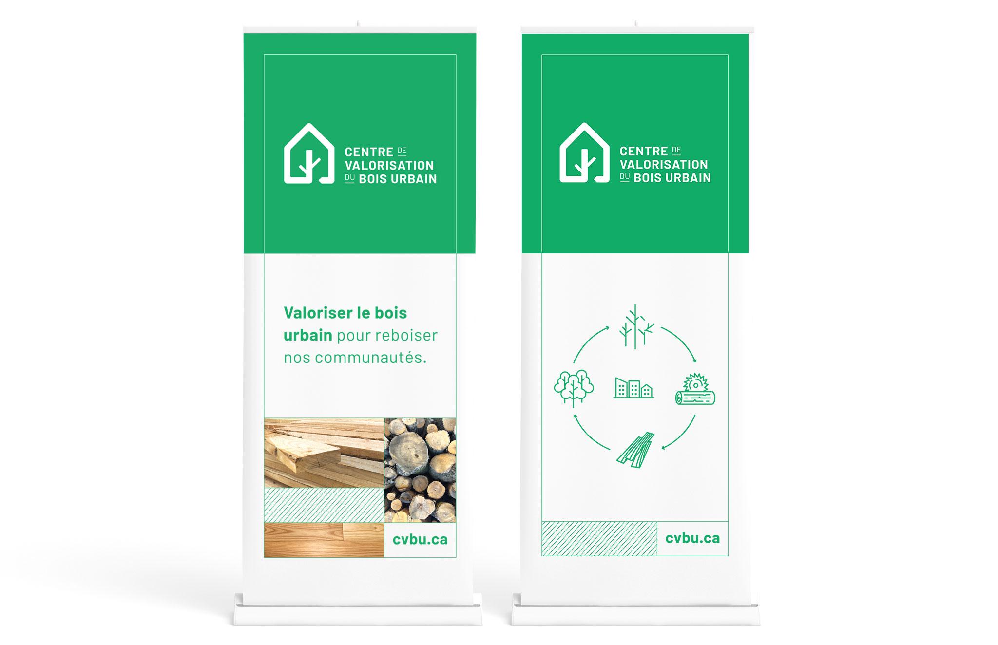 Nouvelle identité visuelle, logo, papeterie, bannière autoportante du Centre de valorisation du bois urbain.