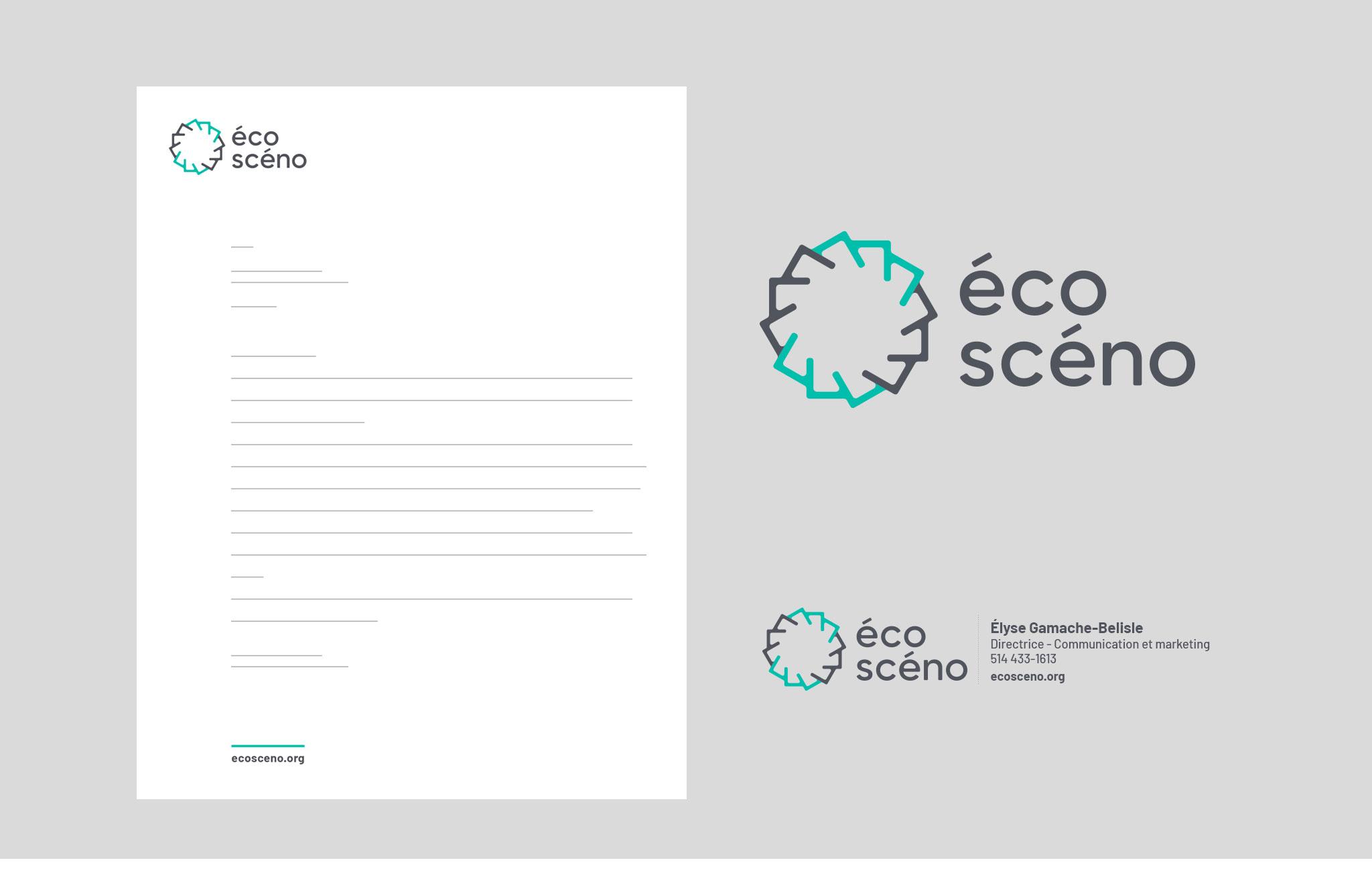 Nouvelle identité visuelle, logo, papeterie et gabarit signature courriel d'Écoscéno.