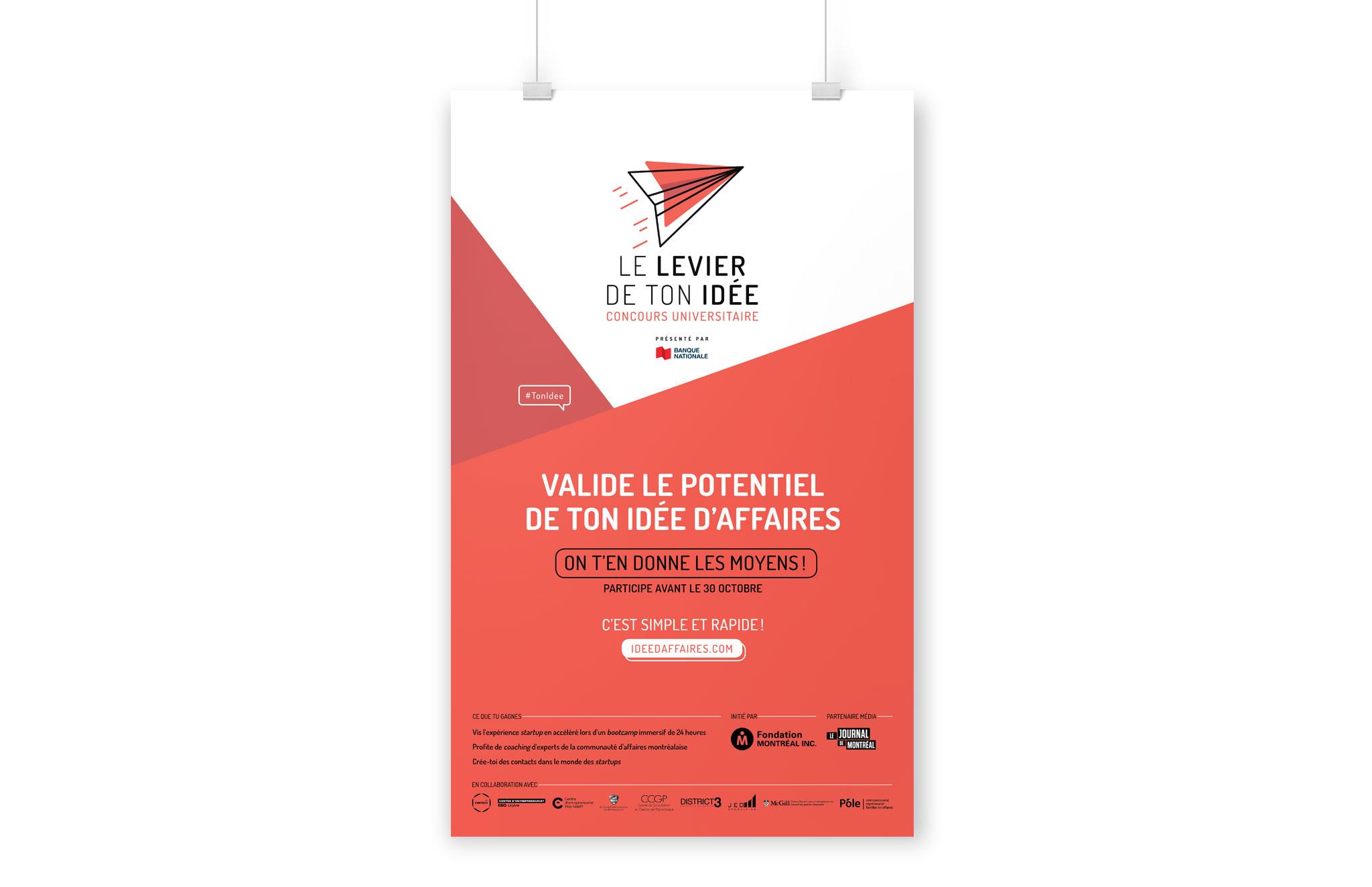 Identité visuelle du concours universitaire - Le levier de ton idée organisé par la Fondation Montréal inc.