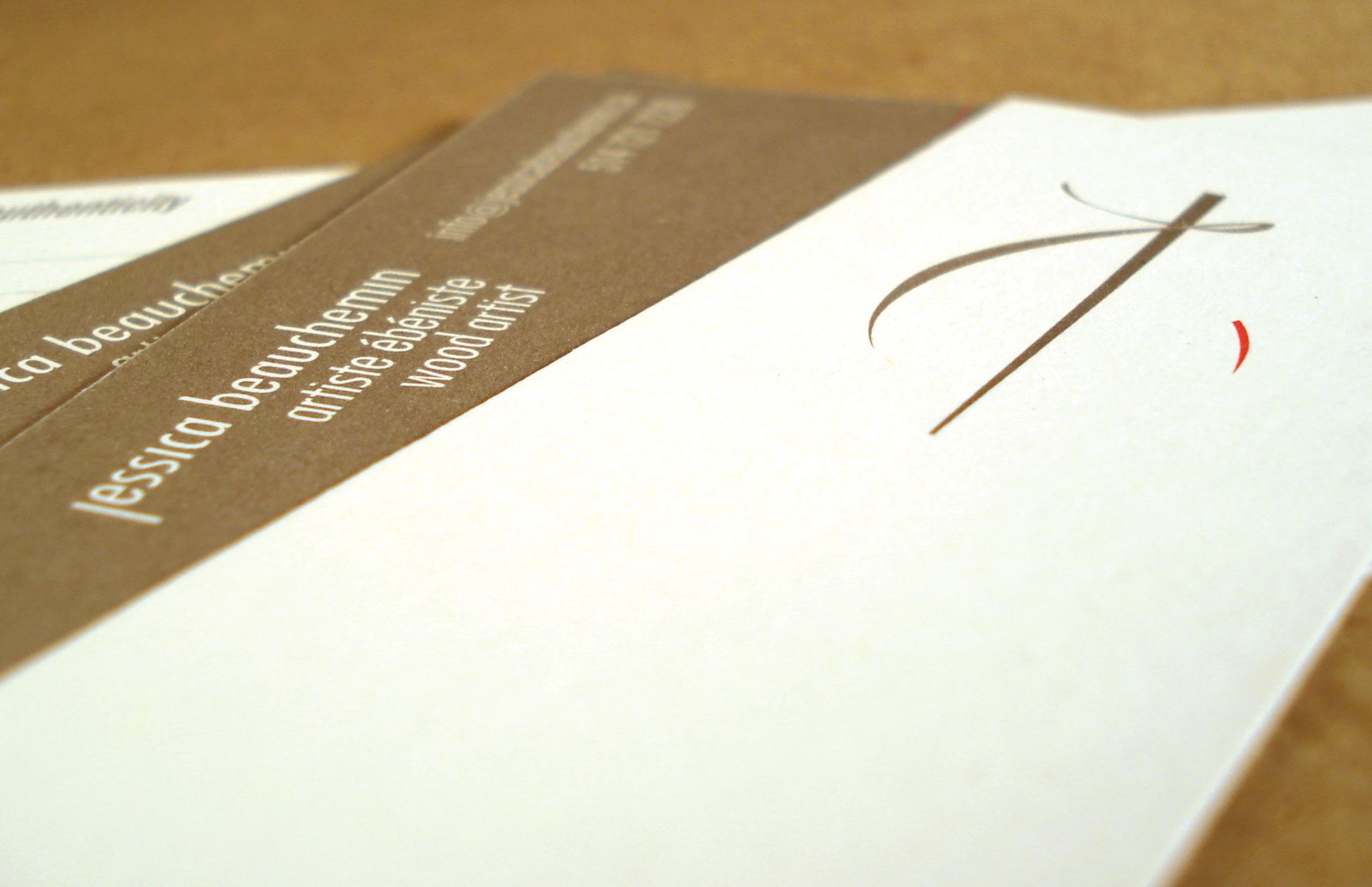 Identité visuelle pour l'artiste ébéniste Jessica Beauchemin.