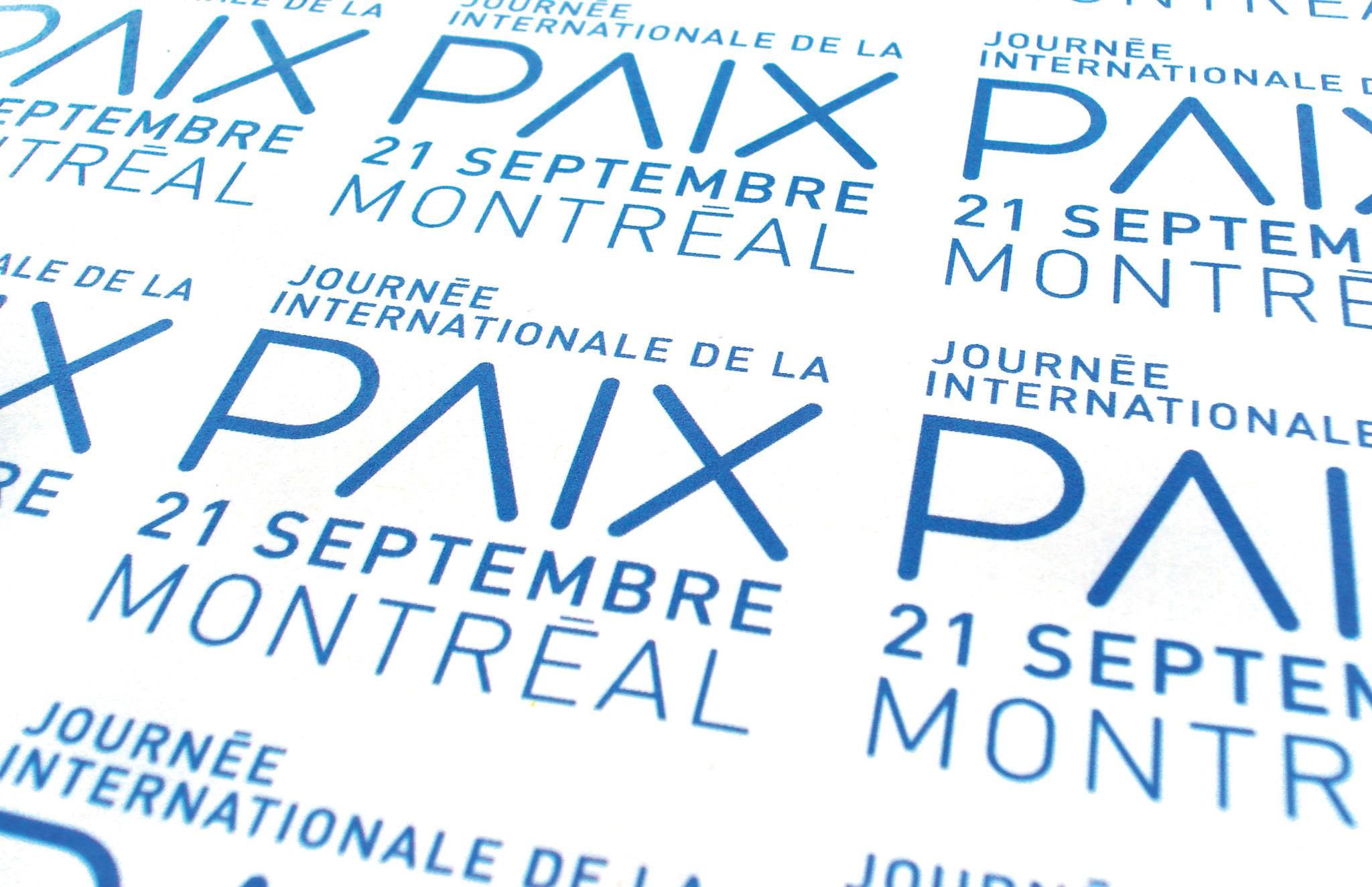 Logo pour la Journée Internationale de la Paix de Montréal.