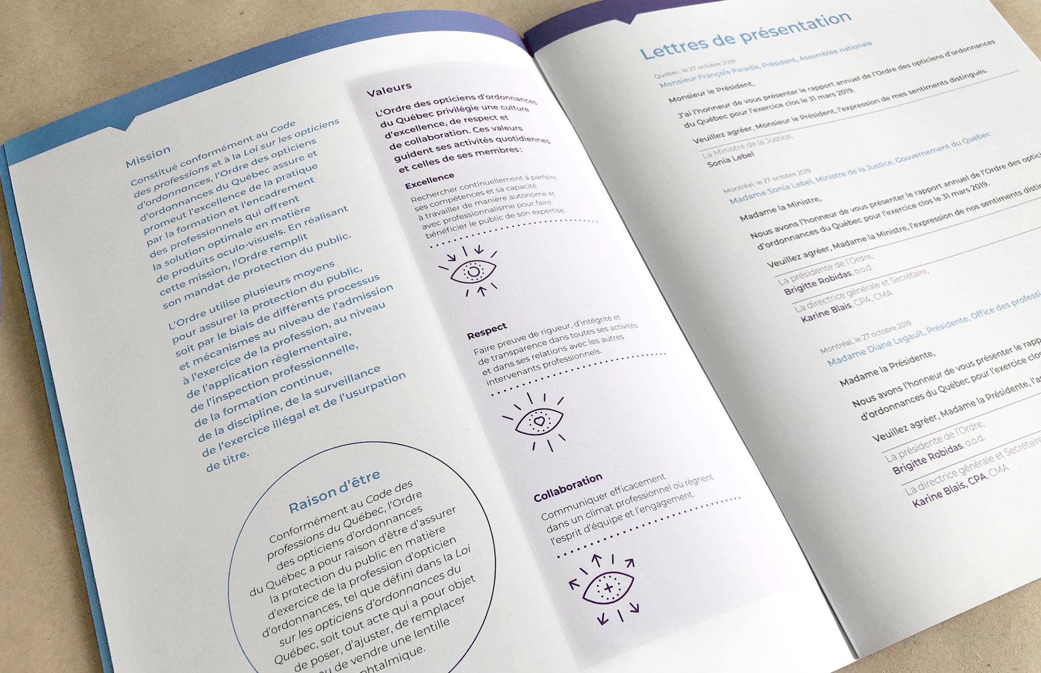Rapport annuel de l'Ordre des opticiens du Québec.