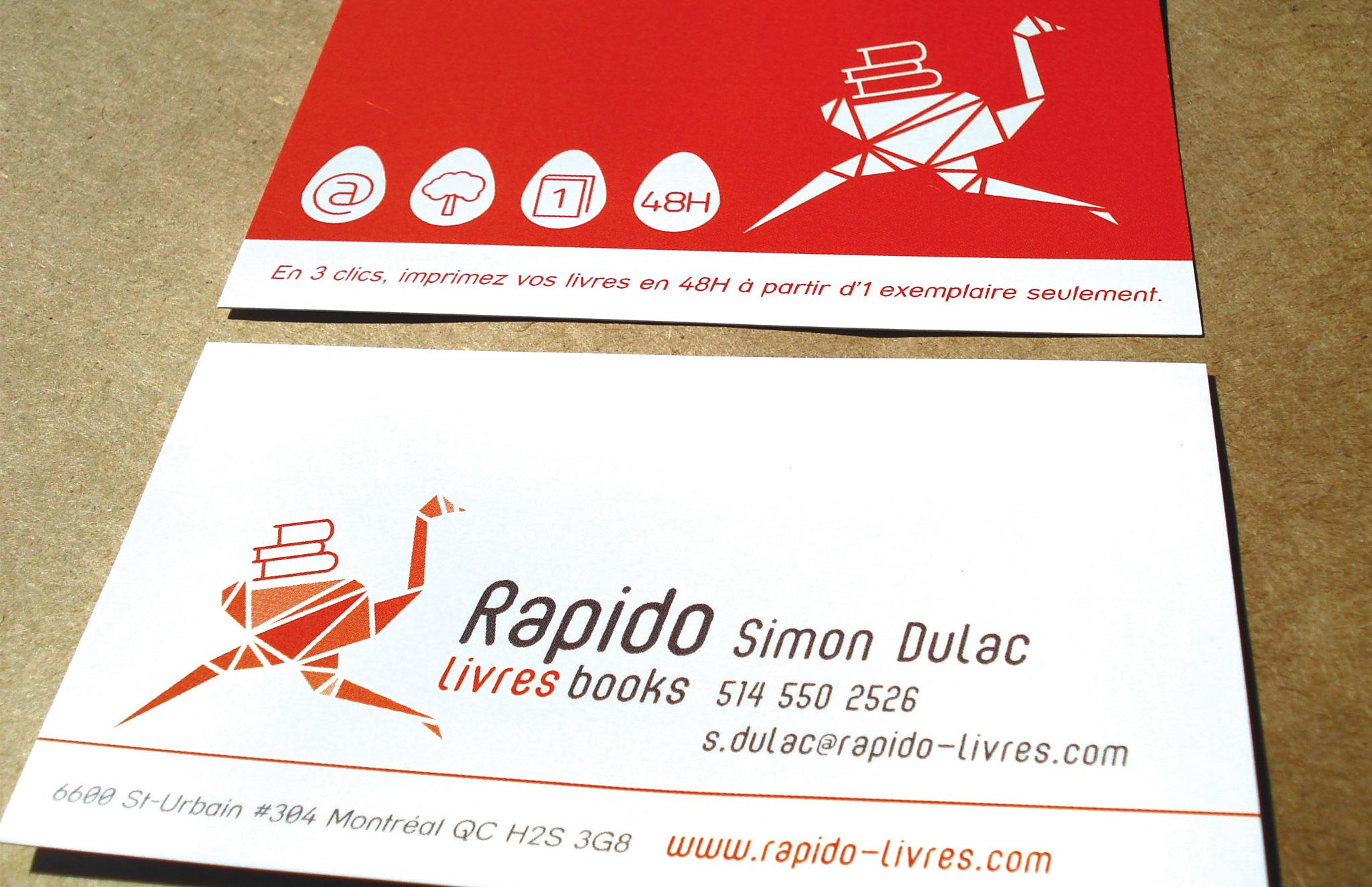 Identité visuelle pour l'imprimeur Rapido Livres.