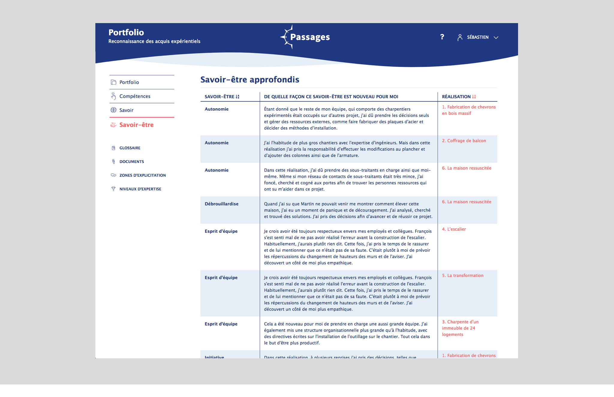 Interface web pour un intranet(Passages - Portfolio reconnaissance des acquis expérientiels).