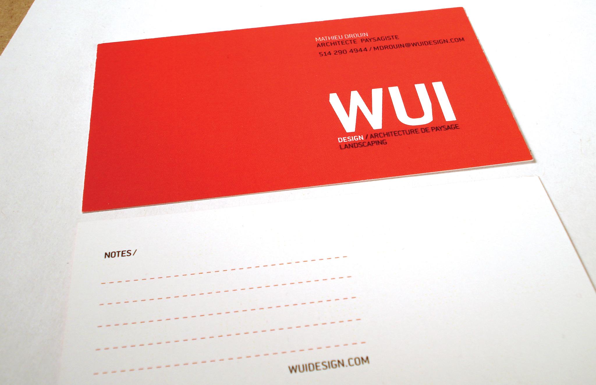 Identité visuelle pour des architectes paysagistes Wui Design.